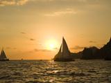 Sailboat at Sunset  Bay of Land's End (El Arco) Cabo San Lucas  Baja  Mexico