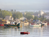 Boats in Morning Fog Corea  Maine  Usa