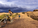 Mountain Bikers on the Slickrock Trail in Moab  Utah  Usa