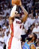 Miami  FL - June 21:  Miami Heat and Oklahoma City Thunder Game Five  LeBron James and James Harden
