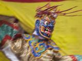 Mask Dance Performance at Tshechu Festival  Bumthang  Bhutan