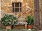 Window and Ancient Stone Wall  Pienza  Tuscany  Italy