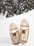 Old-Fashioned Wood Snowshoes in Snow  Crystal Mountain  Washington  Usa