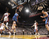 Miami  FL - June 21:  Miami Heat and Oklahoma City Thunder Game Five  Kevin Durant and Udonis Hasle