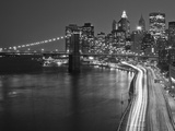 Brooklyn Bridge and Parkway  East River with Lower Manhattan Skyline  Brooklyn  New York  Usa