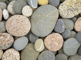 Colorful Round Pebbles Polished by Pounding Surf on a Beach
