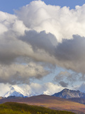 Cumulus Clouds over Snow Capped Alaska Range and Autumn Tundra