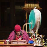 India  Ladakh  Hemis  Monk Reciting Prayers to the Slow Rhythm of a Drum at Hemis Monastery