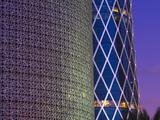 Qatar  Doha  Burj Qatar Left  Tornado Tower Right
