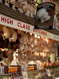 UK  Oxford  A Well-Stocked  'High Class' Butcher Selling Christmas Turkeys in Oxford's Covered Mark