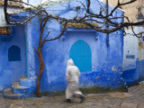 Man Wearing a Djellaba on the Street  Chefchaouen  Morocco