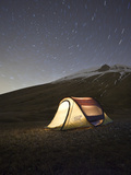 Italy  Umbria  Perugia District  Monti Sibillini Np  Norcia  Tent under the Star  Startrail with Po