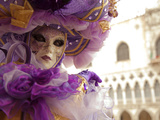 Venice  Veneto  Italy  a Masked Character in Front of the 'Palazzo Dei Dogi' During Carnival