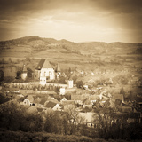 Elevated View over Biertan at Sunset  Biertan  Nr  Sighisoara  Transylvania  Romania