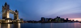 Panoramic Evening Time Shot of Tower Bridge and City of London