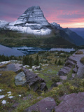 Bearhat Mountain and its Reflection in Hidden Lake at Sunset in the Fall  Glacier National Park
