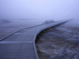 Boardwalk and Bench in Morning Fog around Grand Prismatic Spring  Yellowstone National Park