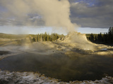 Castle Geyser at Sunset  Yellowstone National Park  Wyoming  USA