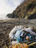 Trash Collected on a Beach Near Portpatrick on the Rhins of Galloway  Scotland  UK
