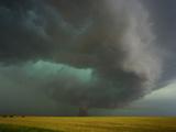 Tornado and Rear Flank Downdraft Approaching Stockton  Kansas