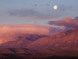 Moon over Guadalupe Mountains  Guadalupe Mountains National Park  Texas  USA