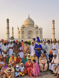 Large Family Group of Sikhs Posing in Front of the Taj Mahal  a Mausoleum Located in Agra