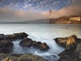 A Fog Bank Enveloping the Golden Gate Bridge  San Francisco  California  USA