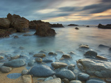 Waves Eroding the Rocks and Cobblestones on the Rocky Big Sur Coast of Central California  USA