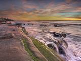 The Wave Eroded Sandstone Rocks on the Coast of La Jolla Near San Diego  California  USA at Sunset