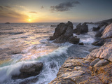 Sunset View of Waves Eroding the Rocky Coastline Near Carmel  Central California  USA