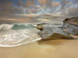 Large Waves Eroding the Sandy Beach and Sandstone Outcrop on the La Jolla  California  USA Shore