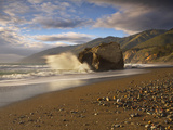A Huge Rock on San Carpoforo Beach at the South End of Big Sur Being Hit and Eroded by Waves