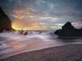 Sunset View of Waves Crashing onto Lava Rocks and the Black Sand Beach Near Hana  Maui  Hawaii