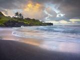 Waves Crashing onto Waianapanapa Black Sand Beach Near Hana  Maui  Hawaii  USA
