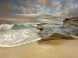 Large Waves Crashing on the Sandstone Rocks and Sandy Beach at La Jolla  California  USA