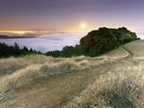 Full Moonrise at Sunset  Mt Tamalpais  California  USA