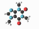 Illustration of a Caffeine Ball-And-Stick Molecular Model