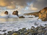 Large Waves Crashing over the Rocky Coast Near Monterey  California  USA