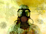 Illustration of Risk  Showing a Person in Hazardous Materials Suit and Face Mask