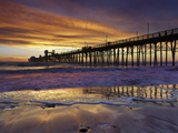 A Lone Surfer Waits for a Wave a People Stroll the Pier Watching a Brilliant Sunset  Oceanside