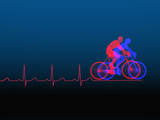 Biomedical Illustration of Exercise (Bicycling) and a Healthy Heart Ekg