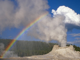 Castle Geyser with Rainbow  Yellowstone National Park  Wyoming