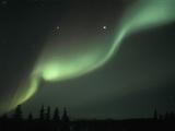 Aurora Borelais  Northern Lights  Jupiter and Saturn in Opposition Range Mountains  USA