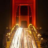 Nightime Traffic on the Golden Gate Bridge  San Francisco  California  USA
