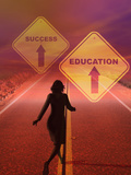 Businesswoman Running Down a Road Toward a Future Where Education Leads to Success