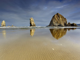 Needles and Haystack Rocks  Canon Beach  Oregon  USA