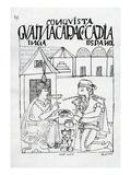 An Inca Asks a Spaniard What He Eats  He Replies 'Gold' (Woodcut)