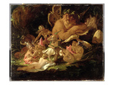 Puck and Fairies  from 'A Midsummer Night's Dream'  C1850 (Oil on Millboard)