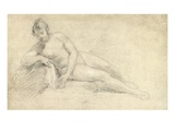 Study of a Female Nude (Pencil and Chalk on Paper)