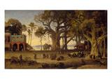 Moonlit Scene of Indian Figures and Elephants Among Banyan Trees  Upper India (Probably Lucknow)